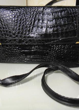 Шикарная лаковая сумка, сумочка клатч через плечо италия, кож зам