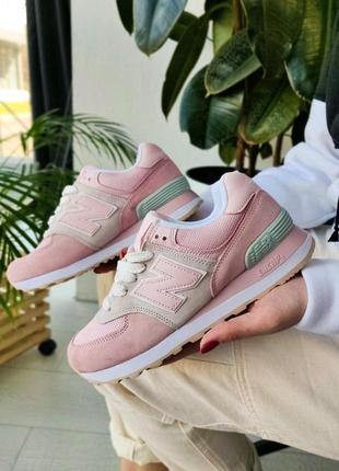 Нежные женские кроссовки new balance 574 pink