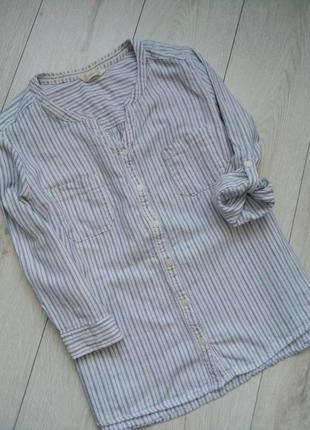 Свободная комфортная рубашка в полоску лен