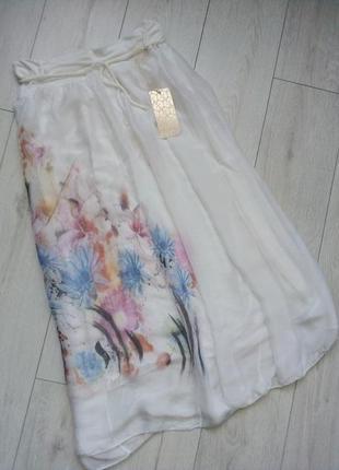 Воздушная  белая юбка миди шелк