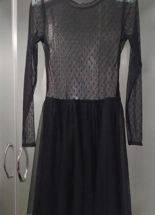 Платье сетка в горох