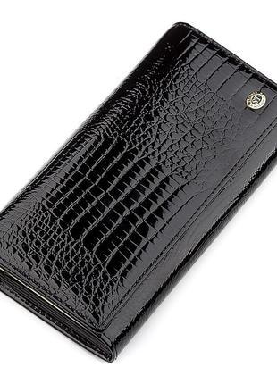 Кошелек женский st leather 18426 (s6001a) кожаный черный, черный