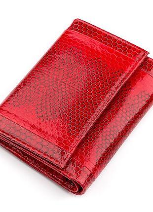 Кошелек женский sea snake leather 18280 из натуральной кожи морской змеи красный, красный