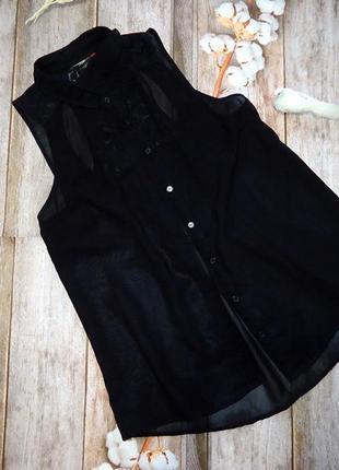 Бомбезная черная блуза с гипюром! красивая спинка. размер s.