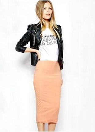 Шикарная юбка миди за колено (миди) утяжка нежно персикового цвета