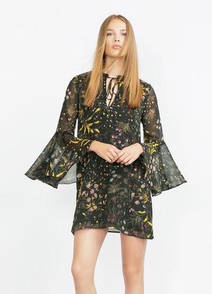 Шикарное легкое платье в цветы свободного кроя zara1 фото