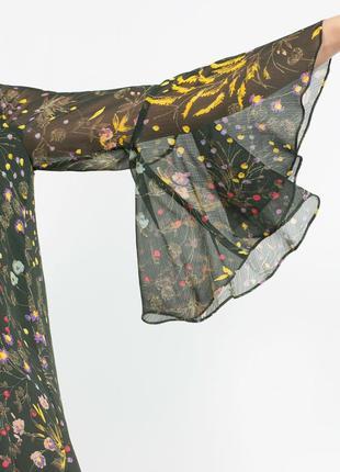 Шикарное легкое платье в цветы свободного кроя zara2 фото