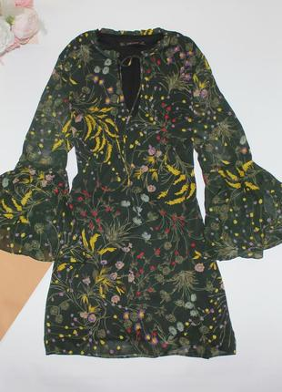 Шикарное легкое платье в цветы свободного кроя zara3 фото