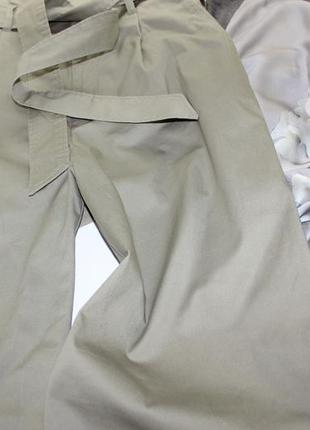 Широкие брюки с поясом и высокой посадкой с боковыми карманами укороченные кюлоты4 фото