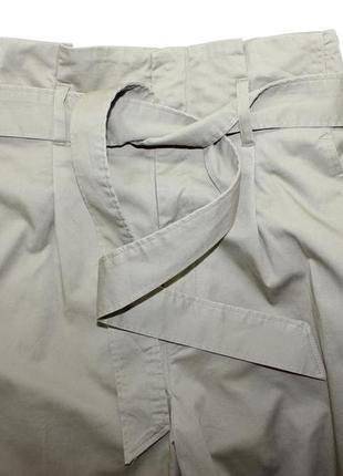 Широкие брюки с поясом и высокой посадкой с боковыми карманами укороченные кюлоты5 фото