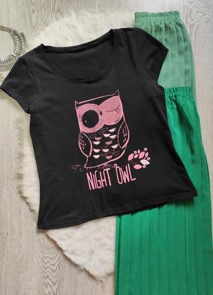 Черная натуральная футболка с принтом рисунком сова надписями батал большой размер