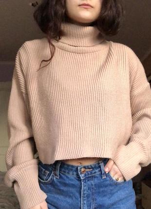 Пыльно-розовый свитер/укороченный вязаный пуловер с горловиной оверсайз missguided