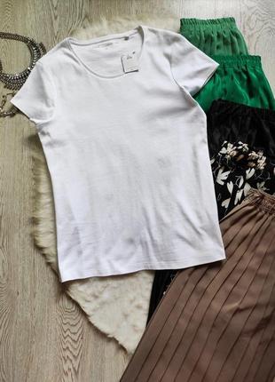 Белая натуральная футболка однотонная хлопок стрейч батал большой размер