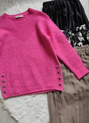 Розовый цветной пушистый свитер кофта вязаная с кнопками сбоку оверсайз батал короткий5 фото