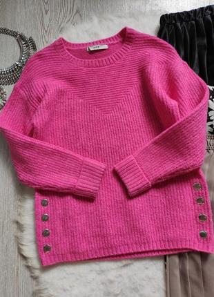 Розовый цветной пушистый свитер кофта вязаная с кнопками сбоку оверсайз батал короткий3 фото