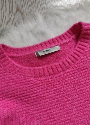 Розовый цветной пушистый свитер кофта вязаная с кнопками сбоку оверсайз батал короткий8 фото