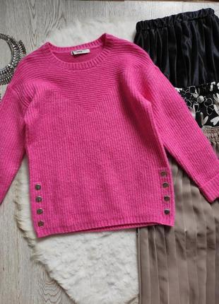 Розовый цветной пушистый свитер кофта вязаная с кнопками сбоку оверсайз батал короткий6 фото