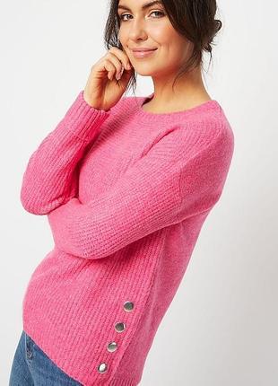Розовый цветной пушистый свитер кофта вязаная с кнопками сбоку оверсайз батал короткий9 фото