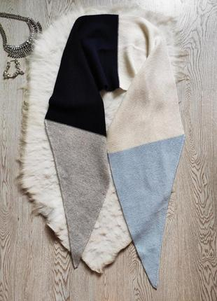 Длинный разноцветный натуральный шарф палантин вязаный голубой синий серый белый
