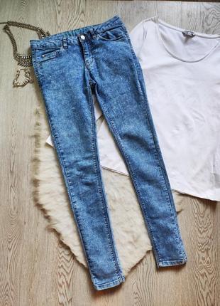 Голубые синие джинсы скинни стрейч варенки низкая талия посадка джеггинсы