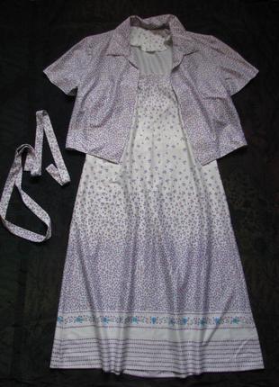Сарафан, сарафан и жакет, нарядный костюм винтаж в цветы