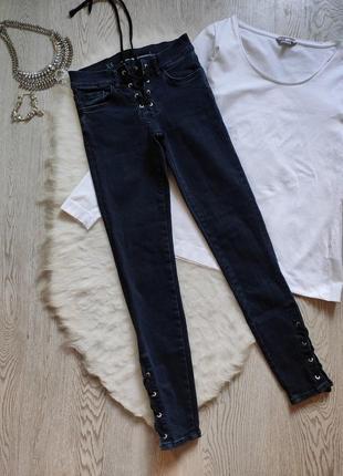 Плотные синие джинсы скинни стрейч с люверсами шнуровкой на ширинке сбоку кроп