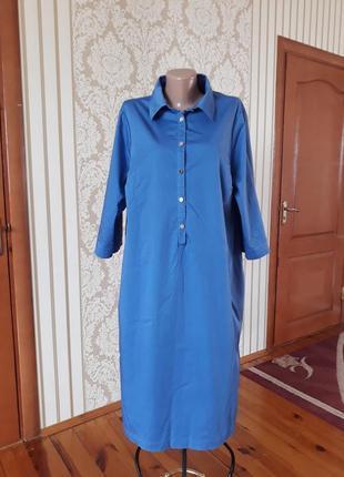 Красивенное бельгийское  платье-рубашка  из натуральной ткани с карманами