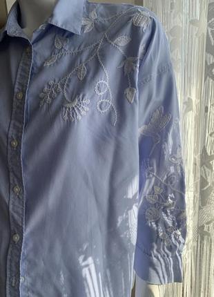 Рубашка с вышитым орнаментом h&m большой размер 48/50