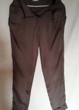 Атласные брюки табачного цвета