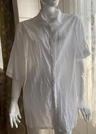 Рубашка белая рукав 3/4 большой размер 56/58
