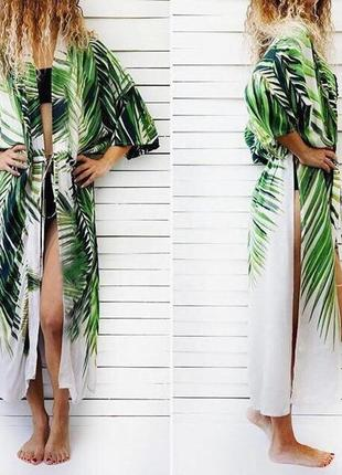🌴туника, парео, пляжный халат 🌴накидка тропический принт пальмы🌴