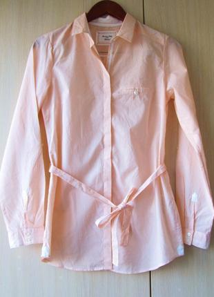 Приталенная хлопковая рубашка massimo dutti / xs / m
