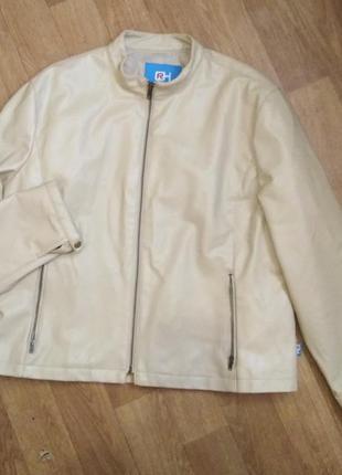 Куртка женская кожзам эко кожа цвет светлый беж xxl