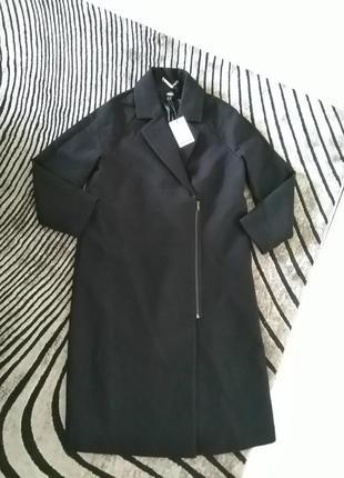 Новое пальто косуха оверсайз 80% шерсть, mexx. чёрное шерстяное пальто