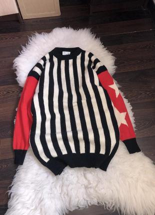 Шерсть шерстяной свитер оверсайз кофта удлинённый звёзды принт ретро винтаж