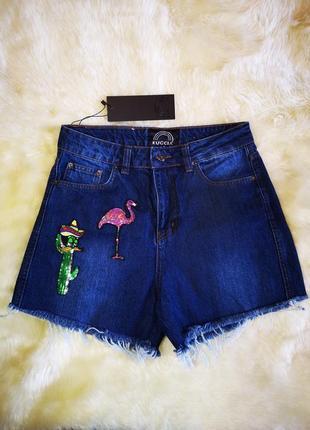 Красивые джинсовые шорты с нашивками высокая посадка2 фото