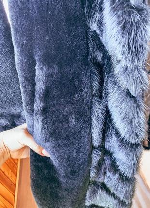 Шуба из натурального мутона со вставками норки4 фото