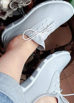 Кожаные кроссовки туфли на шнурке