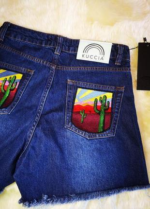 Красивые джинсовые шорты с нашивками высокая посадка4 фото