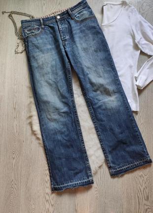 Мужские плотные синие голубые джинсы прямые не узкие