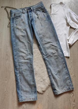 Мужские плотные светлые голубые джинсы прямые не узкие с потертостями высокий рост