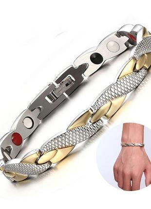 Магнитный браслет для здоровья терапевтические магнит мужской браслет под серебро и золото