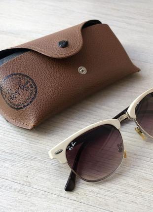 Солнечные очки бежевые ray ban