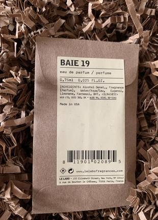 Пробник нишевого унисекс аромата le labo baie 19