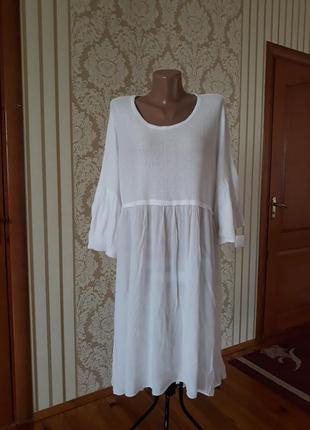 Итальянское белоснежное платье в стиле бохо из натуральной ткани