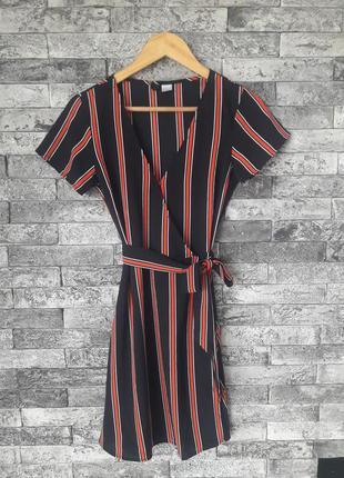H&m платье на запах принт полоска новое платье с поясом
