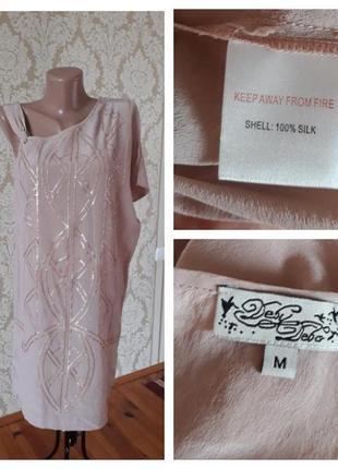 Шелковое платье-туника 100% шелк нарядное