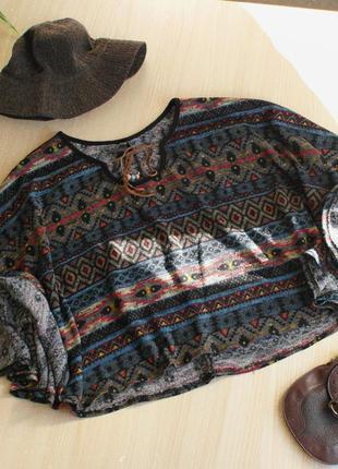 Пончо с орнаментом этно бохо цветное