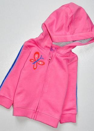 F&f. розовая с бабочкой и лампасами на рукавах кенгурушка. 3-6 мес. рост 68 см