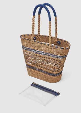 Соломенный шоппер , сумка zara
